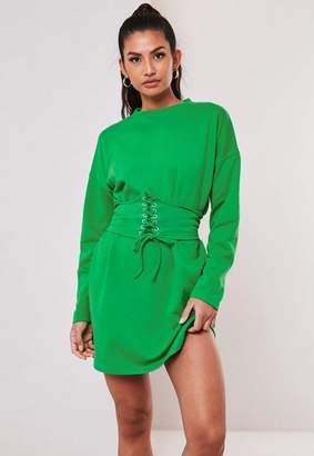 Missguided Green Oversized Corset Waist T Shirt Dress
