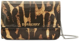 Burberry Leopard Print Chain Strap Card Case