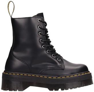 Dr. Martens Jadon Combat Boots In Black Leather