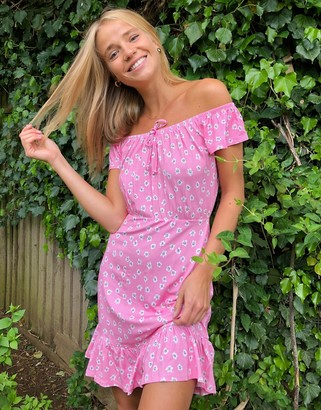 ASOS DESIGN mini bardot sundress with ruffle hem in floral print