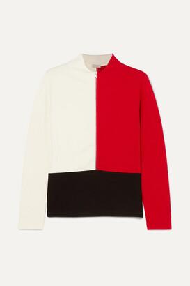 Vaara Ariel Thermal Color-block Knitted Top - Red