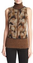 Fuzzi Sleeveless Graphic Turtleneck w/ Ribbed Trim, Camel