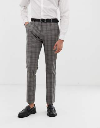 Selected slim suit pants in gray sand check