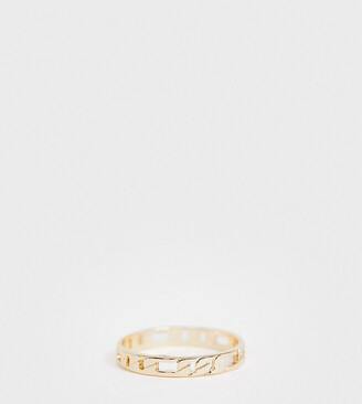 Asos DESIGN Curve thumb ring in fine curb chain design in gold tone