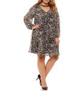 Robbie Bee Long Sleeve Floral Sheath Dress-Plus