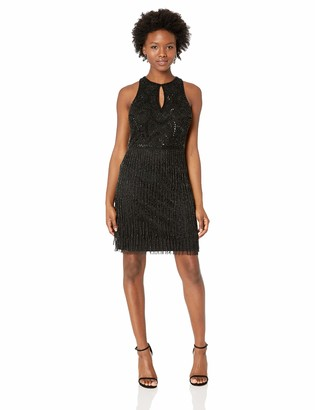 Adrianna Papell Women's Petite Sleeveless Short Beaded Fringe Dress