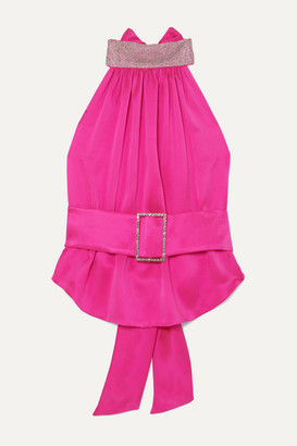 Harmur HARMUR - Open-back Belted Crystal-embellished Silk-satin Halterneck Top - Bubblegum