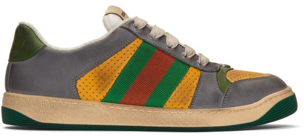 Gucci Yellow and Grey Screener Sneakers
