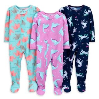Carter's Child of Mine by Baby Toddler Girls 1-Piece Poly Footie Sleeper Pajamas, 3pk
