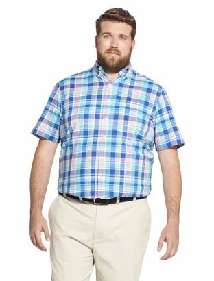 Izod Men's Big Saltwater Dockside Button Down Short Sleeve Plaid Shirt