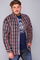 Yours Clothing D555 Red, White & Navy Checked Shirt & Printed T-Shirt Combo - TALL