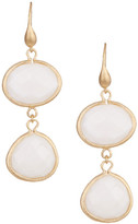 Rivka Friedman 18K Gold Clad East/West Oval & Teardrop Mother of Pearl Earrings