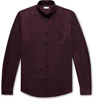 Sunspel Button-Down Collar Melange Brushed Cotton-Flannel Shirt
