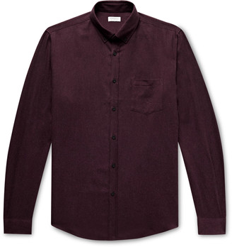 Sunspel Button-Down Collar Melange Cotton-Flannel Shirt