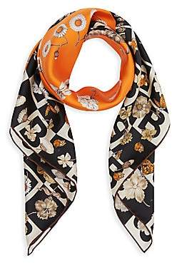 Burberry Women's B Motif and Floral Print Silk Square Scarf