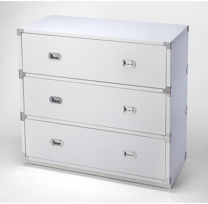 Thumbnail for your product : Butler Anew White 3 Drawer Campaign Chest