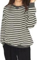 uxcell Allegra K Women's Dropped Shoulder Loose Bar Striped Sweatshirt XL Dark Grey