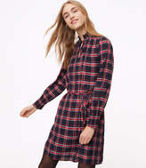 LOFT Plaid Smocked Shirtdress