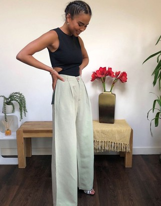 And other stories & linen wide leg pants in dusty green