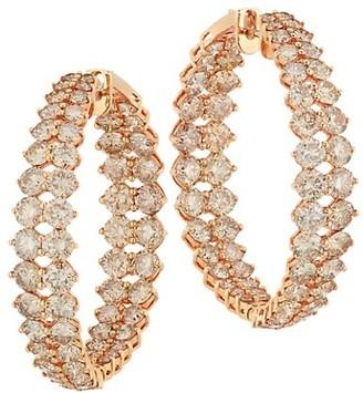 Etho Maria Gemini 18K Rose Gold & Brown Diamond Inside-Outside Hoop Earrings
