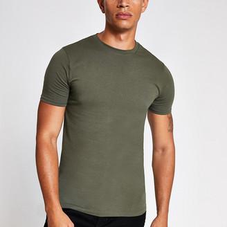 River Island Khaki muscle fit short sleeve T-shirt
