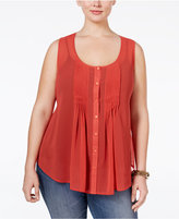 American Rag Trendy Plus Size Pintucked Blouse, Only at Macy's
