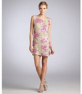 ABS by Allen Schwartz gold and pink sequined floral cluster sheath dress