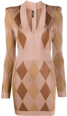 Balmain Diamond-Pattern Mini Dress