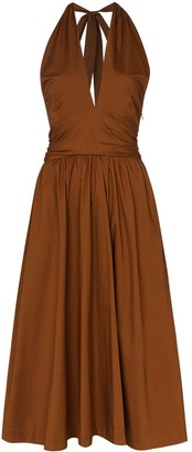 STAUD Moana flared halterneck dress