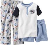 Carter's Short-Sleeve 3-pc. Baseball Pajama Set - Baby Boys 12m-24m