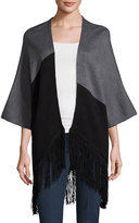 Neiman Marcus Asymmetric Colorblock Fringe Cardigan, Heather/Smoke/Black