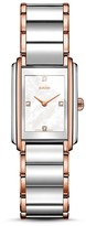 Rado Integral Quartz Stainless Steel & Rose Gold PVD Watch with Diamonds, 40.1mm
