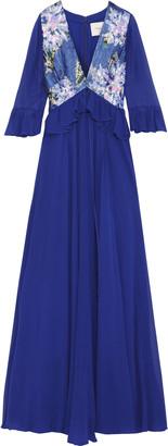 Carolina Herrera Sequin-paneled Silk-georgette Gown