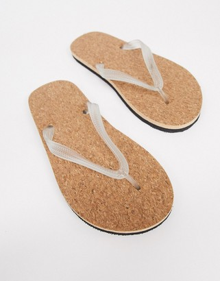 ASOS DESIGN thongs with cork sole