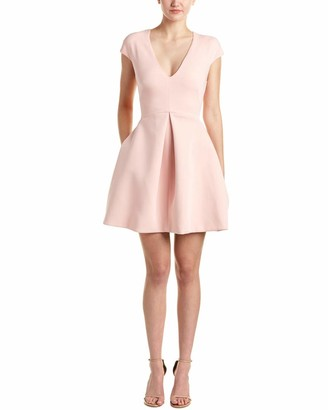 Halston Women's Cap-Sleeve V-Neck Structure Dress with Cutout Back