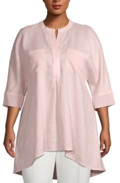 Anne Klein Plus Size Split-Neck High-Low Tunic