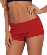 Hot From Hollywood Juniors Comfortable and Active Fitted Foldover Gym Workout Cotton Short Shorts