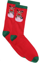 Yours Clothing D555 Red & Green Reindeer Print Christmas Socks