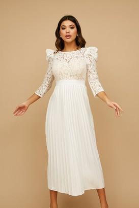 Little Mistress Arya White Lace Pleated Midaxi Dress
