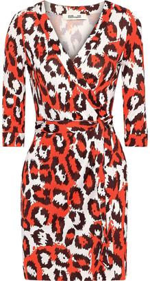 Diane von Furstenberg Printed Silk-jersey Mini Wrap Dress