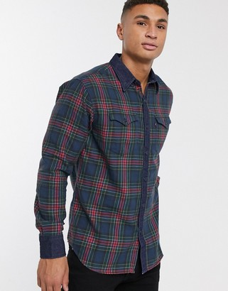 Levi's modern barstow check with denim trim shirt in blue