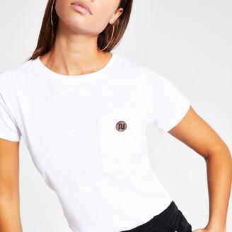 River Island Womens White RI diamante button short sleeve T-shirt