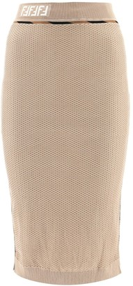 Fendi Contrast Trimmed Mesh Pencil Skirt