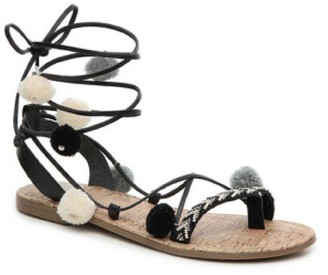 Goodnight Macaroon 'Duff' Pom Pom Strappy Embellished Sandals (2 Colors)