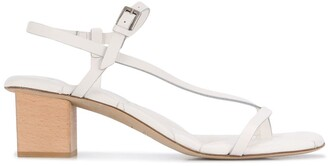 Del Carlo Diagonal Strap Block Heel Sandals