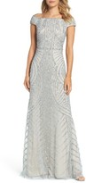 Adrianna Papell Petite Women's Off The Shoulder Beaded Gown