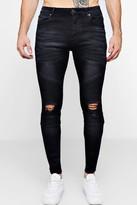boohoo Mens Washed Black Biker Detail Skinny Fit Jeans, Black