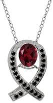 Gem Stone King 1.84 Ct Oval Red Rhodolite Garnet Black Diamond 14K White Gold Pendant