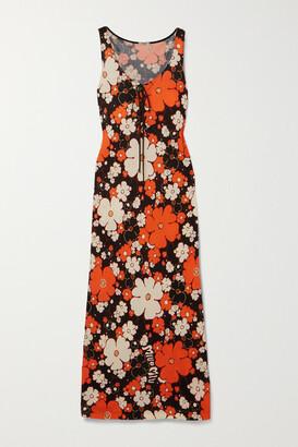 Miu Miu Lace-up Floral-print Stretch-jersey Maxi Dress - Orange