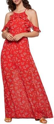 BCBGeneration Hibiscus Floral Cold-Shoulder Maxi Dress